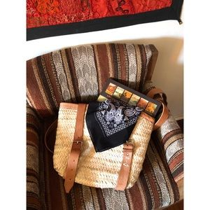 Handbags - Rattan Leather Backpack With Buckles